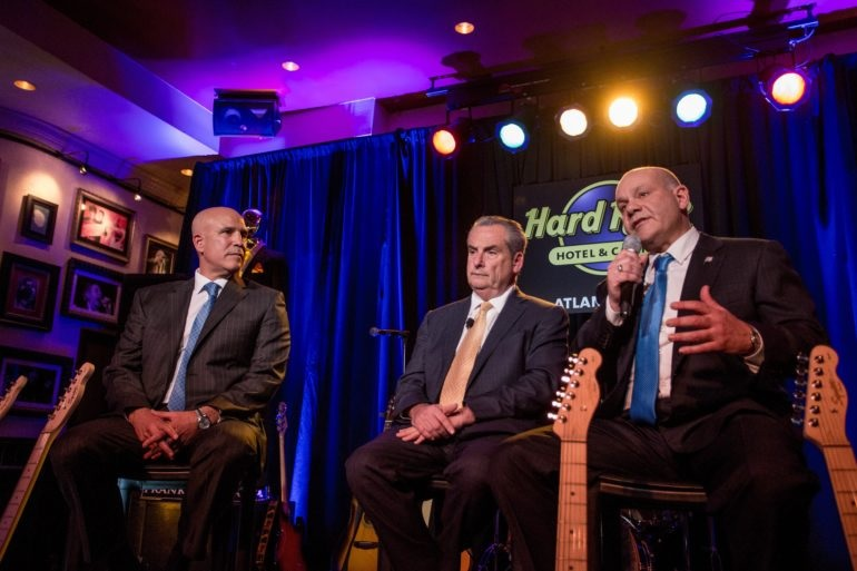 From left: Joseph R. Jingoli Jr., Jim Allen and Jack Morris discuss plans for the new Hard Rock Hotel & Casino Atlantic City during an April 5 event at the property. — Courtesy: Hard Rock International